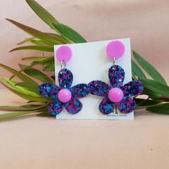 Flower Statement Dangle Earrings -  Pink - blue