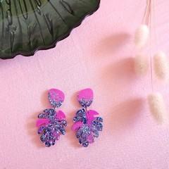 Monstera leaf statement dangle earrings -  pink & blue / pink  glitter