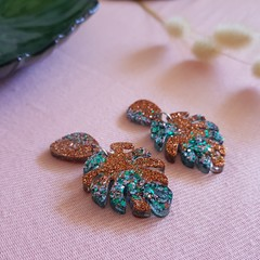 Monstera leaf statement dangle earrings - gold & mixed green glitter