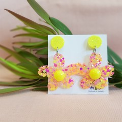 Flower Statement Dangle Earrings - Yellow-pink colour