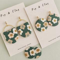 Vintage green floral earrings