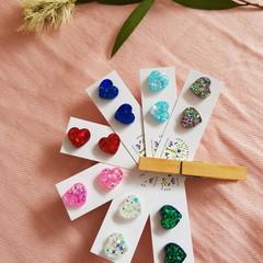 Cute HEART Stud Glitter Earrings