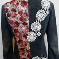 Upcycled Denim Jacket Rustic Rose & Lace, Vintage  style Size 10