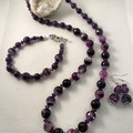 Purple Agate Necklace, Bracelet and Earring Set