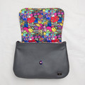Hedy Convertible Clutch - Grey Leather and 90s Kid