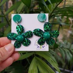 Flower Statement Dangle Earrings -  Green-blue