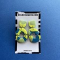 Yellow & Blue Three Tier Dangle  - Polymer Clay Earrings