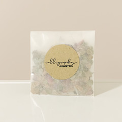 Biodegradable heart shaped eco confetti in individual pouches