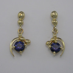 14ct Solid Yellow Gold Natural Blue Sapphire Drop Earrings