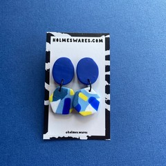 Blue with Yellow Dangles  - Polymer Clay Earrings
