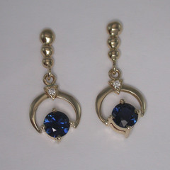 14ct Solid Yellow Gold Blue Sapphire and Diamond Drop Earrings