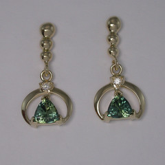 14ct Solid Yellow Gold Natural Sapphire and Diamond Drop Earrings