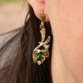 14ct Solid Gold Natural Green Sapphire and Diamond Drop Earrings