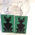 Art deco Cat design, dangle style, earrings in red, green or lilac.
