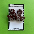 Red and Grey Smile Dangle  - Polymer Clay Earrings