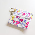 Headphone / Coin Zipper Pouch with Keyring and Clip | Bright Flowers