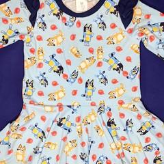 Blue Dog Long Sleeve Dress - Sizes 1, 2, 3, 4, 5