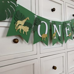 Jungle Zoo Safari ONE banner. Wild One birthday party decor.