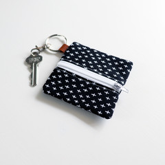 Headphone / Coin Zipper Pouch with Keyring and Clip | Black Cross