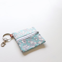 Headphone / Coin Zipper Pouch with Keyring and Clip | Floral in Blue
