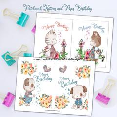 Patchwork Kittens and Pups Birthday AfreshDesignPB