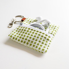 Headphone / Coin Zipper Pouch with Keyring and Clip | Green Crosses
