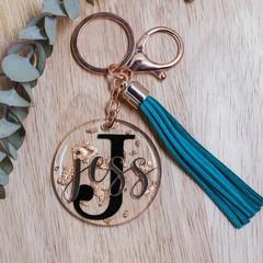 Rose Gold Leaf Foil | Resin Coated | Personalised Keyring | Long Tassel Keyring