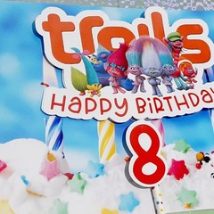 Trolls, Happy Birthday Age personalised Cake topper