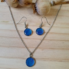 Blue and Mauve Silver Drop Earrings or Necklace