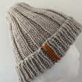 Hand knitted oatmeal ladies mens merino wool beanie beige PomPom