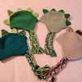 Dinosaur earflap hat, beanie - Green or taupe crochet.
