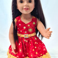 Red and Yellow Batik Sundress with Belt