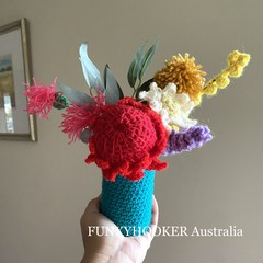 Handmade House Warming Present Crocheted Flowers Handmade Flowers