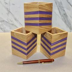 Mountain Ash and Purple Epoxy Chevron Wooden Pencil Holder | Desk Organiser