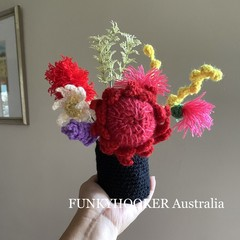House Warming Present Home Decor Office Decor Crocheted Flowers In Jar