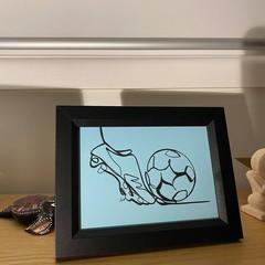 """""""The Soccer Scorer' Framed Line Drawing Artwork"""