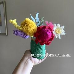 Australian Flowers In A Vase Handmade Flowers Crocheted Flowers Home Decor