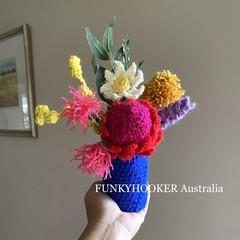 Handmade Flowers In Jar Crocheted Flowers Home Decor House Warming Present