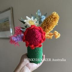 Crocheted Flowers In Jar Handmade Australian Flowers Home Decor Present