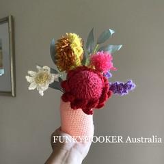 Handmade Flowers In Jar Crocheted Flowers Handmade Gift Home Decor Gift