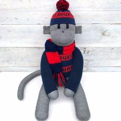 Melbourne Demons Footy Sock Monkey - *READY TO POST*