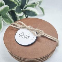 Rustic, Genuine Leather / Cork Coasters, Set 4, Tan Brown