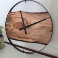 Australian Handmade Large Marri Wood & Steel Wall Clock, Wood and metal hanging