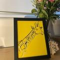 """One Happy Giraffe"" Line Drawing Framed Artwork"