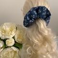 Denim and White Daisy Hair Scrunchie Accessory