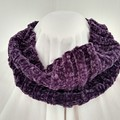 Hand Knitted Continuous Cowl Scarf - Plum