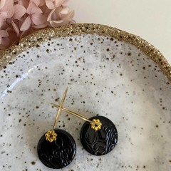 Statement Black Stamped Handmade Clay, Gold Hoop Earrings with Beads