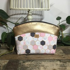 Small Makeup Purse/Toiletry Bag - Pink/Grey/White Hexagon/Gold Faux Leather