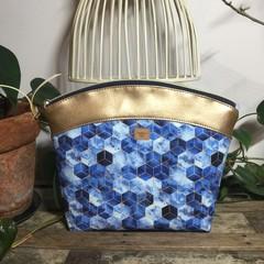 Large Makeup Purse/Toiletry Bag - Blue Geometric/Gold Faux Leather