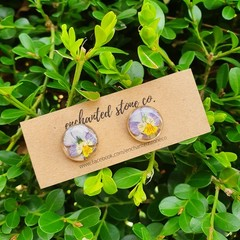 Pixie Pansy Stud Earrings - Lilac - Gold